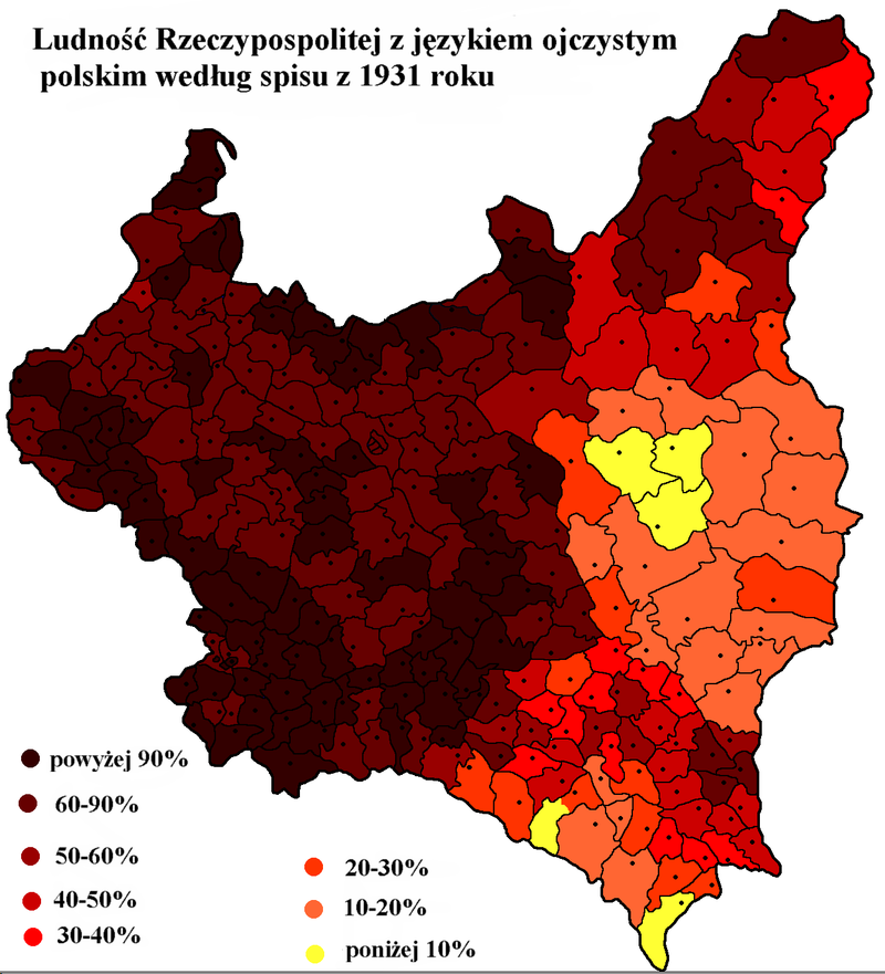Polish language frequency in Poland in 1931